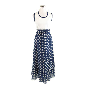 Dark blue white polka dot sleeveless vintage maxi dress XS