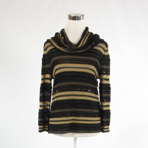 Black gold uneven striped JONES NEW YORK 3/4 sleeve cowl neck sweater PM-Newish