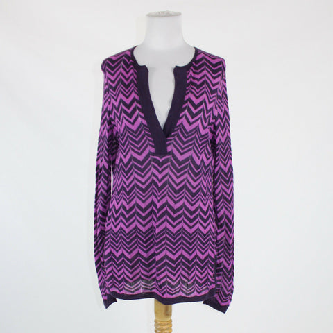 Purple chevron ANN TAYLOR long sleeve split neckline semi-sheer sweater L
