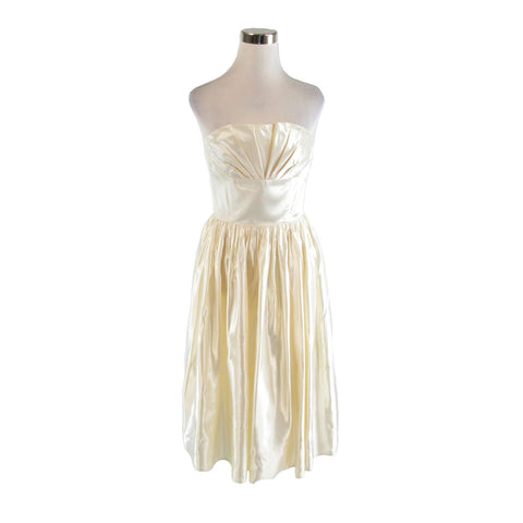 Ivory satin GUNNE SAX Jessica McClintock strapless vintage party dress XS