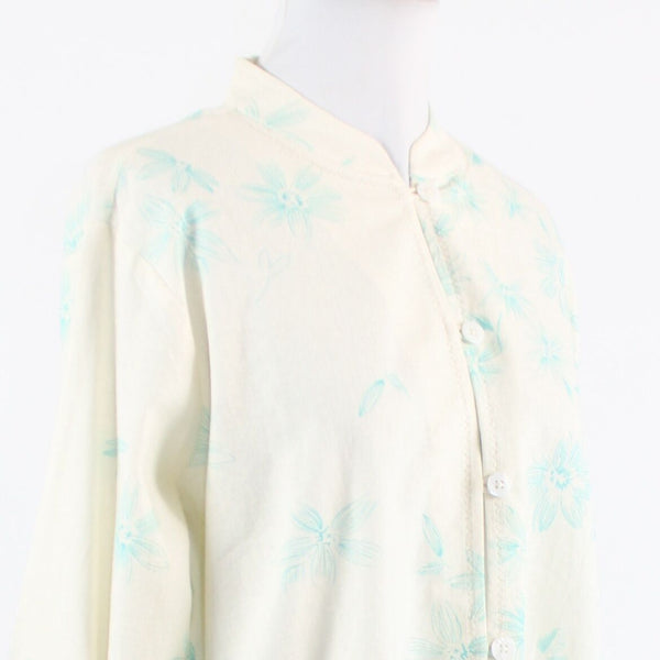 Ivory blue floral print linen blend COLDWATER CREEK 3/4 sleeve jacket M