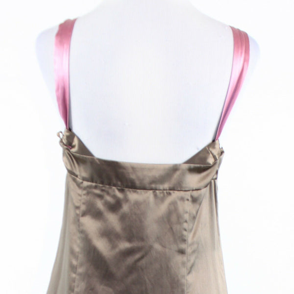 Brown pink satin BCBG MAX AZRIA sleeveless sun dress S-Newish