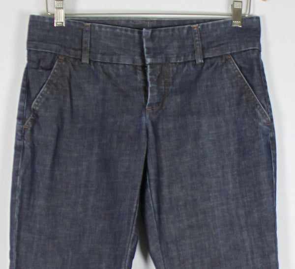 EXPRESS dark wash 100% cotton denim low-rise precision fit cropped jeans 4-Newish