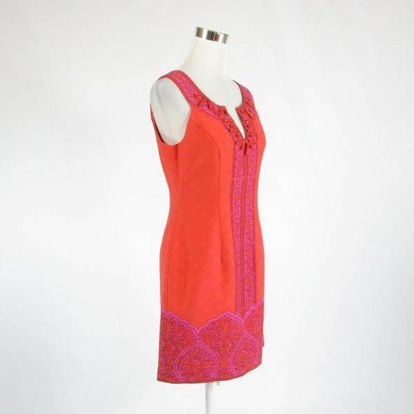 Orange purple 100% cotton KAY UNGER beaded sleeveless sheath dress 8-Newish
