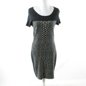 Charcoal gray snake wool blend MAGASCHONI stretch short sleeve sheath dress M