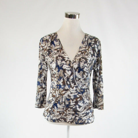 Dark blue brown floral print COLDWATER CREEK stretch 3/4 sleeve blouse S