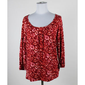 TALBOTS dark red & white geometric cotton blend 3/4 sleeve scoop neck blouse M-Newish