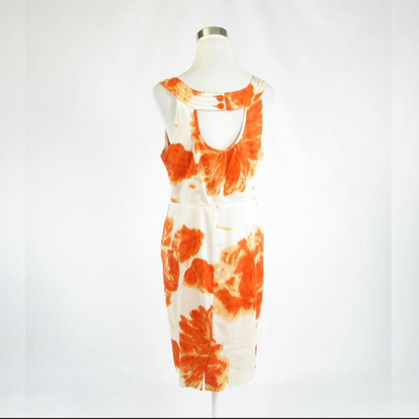 White orange floral print ANTHROPOLOGIE MOULINETTE SOEURS sheath dress 10-Newish