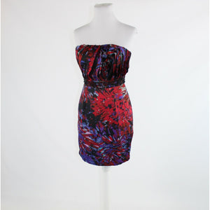 Red purple geometric BCBGENERATION beaded trim strapless sheath dress 2