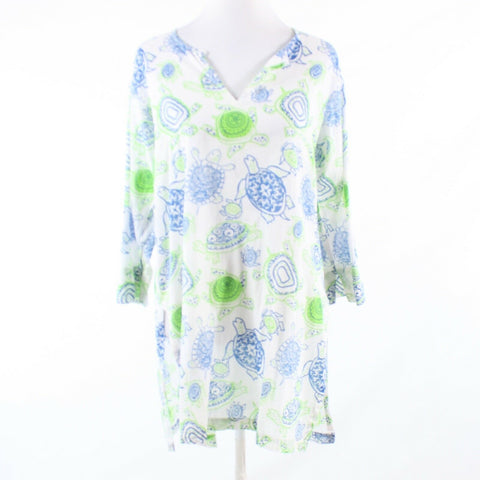 White blue turtle print 100% cotton GRETCHEN SCOTT DESIGNS tunic blouse M