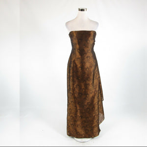 Metallic gold brown floral print 100% silk KAY UNGER strapless ball gown dress 6