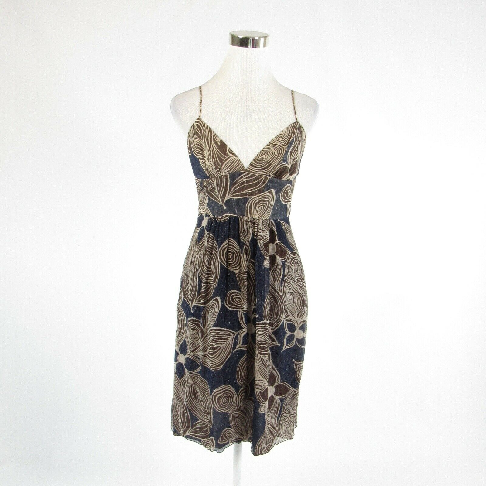 Navy blue brown geometric ANTHROPOLOGIE TRINA TURK empire waist dress 2-Newish