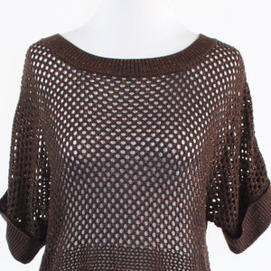 Brown gold crochet knit THE LIMITED short batwing sleeve crewneck sweater M