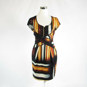 Black orange uneven striped JESSICA SIMPSON cap sleeve sheath dress 13-Newish