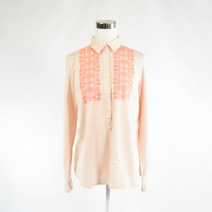 Peach white pinstripe 100% cotton J. CREW long sleeve button down blouse M