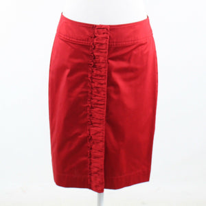 Red cotton blend TALBOTS front zipper pencil skirt 6-Newish