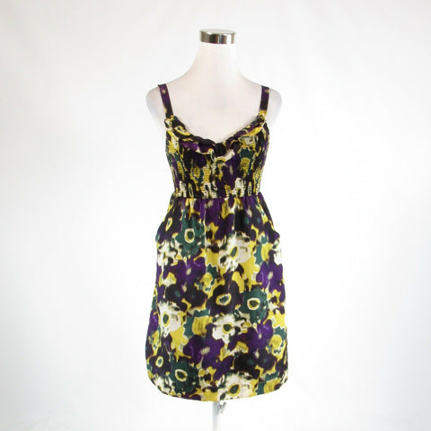 Purple abstract 100% silk ANTHROPOLOGIE MAEVE stretch sleeveless sun dress XS