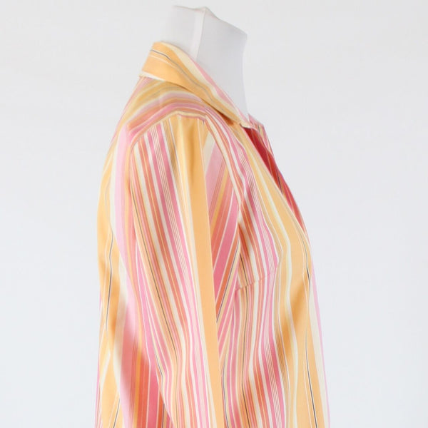Light orange pink uneven striped cotton TALBOTS 3/4 sleeve button down shirt 8