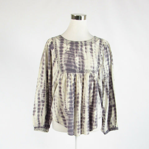 Ivory gray abstract cotton blend TRUE CRAFT long batwing sleeve Peasant top M-Newish