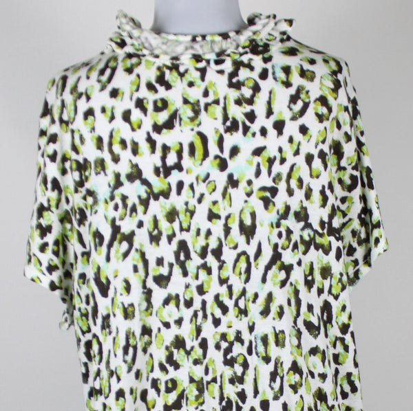 MADISON white brown green cheetah linen blend ruffled trim swing sweater 3X-Newish