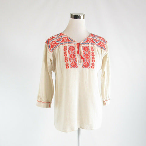 Ivory orange tribal 100% cotton ARTISAN DE LUXE stretch 3/4 sleeve blouse M