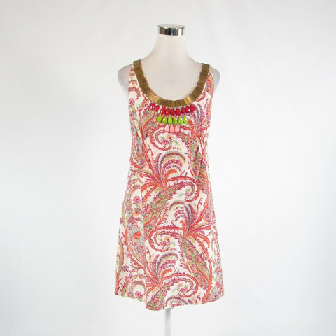 Fuchsia pink white floral print cotton blend BETH BOWLEY A-line dress 6-Newish
