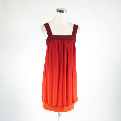 Maroon red orange ombre MORGAN MCFEETERS stretch sleeveless bubble dress 4