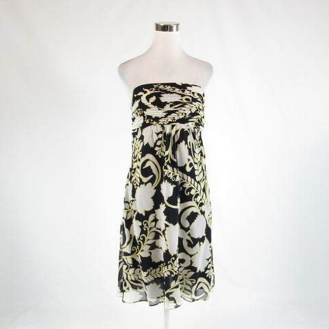 Black ivory floral print 100% silk ANN TAYLOR sleeveless empire waist dress 10