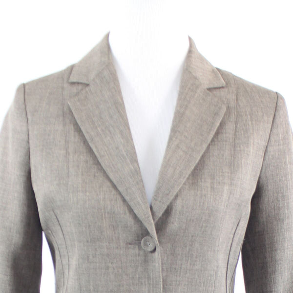 Cool brown taupe herringbone HENNES long sleeve blazer jacket 6