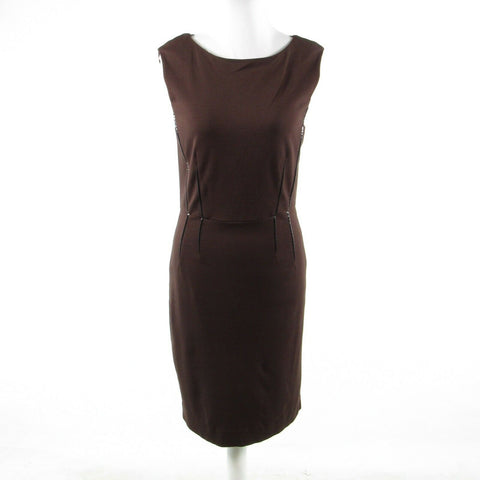 Dark brown cotton blend KENNETH COLE NEW YORK sleeveless sheath dress 4