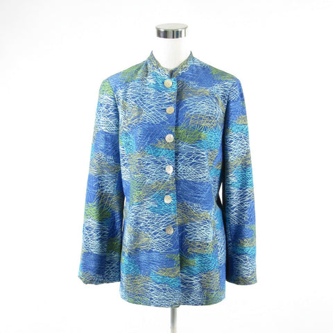Blue green abstract embroidered silk EMIL RUTENBERG jacket M