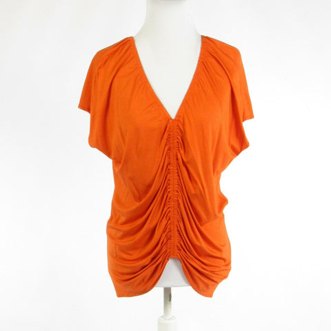 Orange ANTHROPOLOGIE TRINA TURK stretch cap sleeve blouse P