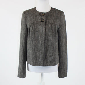 Gray herringbone ATMOSPHERE long sleeve button chest jacket 10