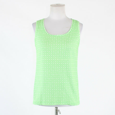 Green white geometric 100% cotton JONES NEW YORK sleeveless scoop neck blouse L-Newish