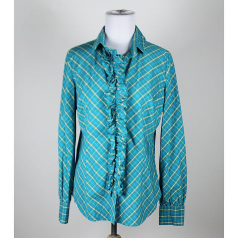 NEW YORK & COMPANY blue light blue light green plaid cotton long sleeve blouse M-Newish