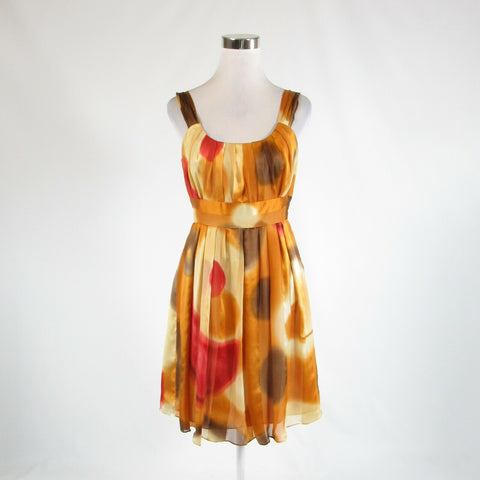 Rusty orange beige abstract SUZI CHIN FOR MAGGY BOUTIQUE empire waist dress 10P