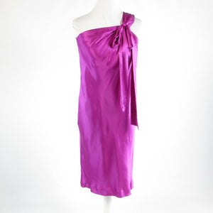 Orchid purple satin BANANA REPUBLIC sleeveless one shoulder dress 4