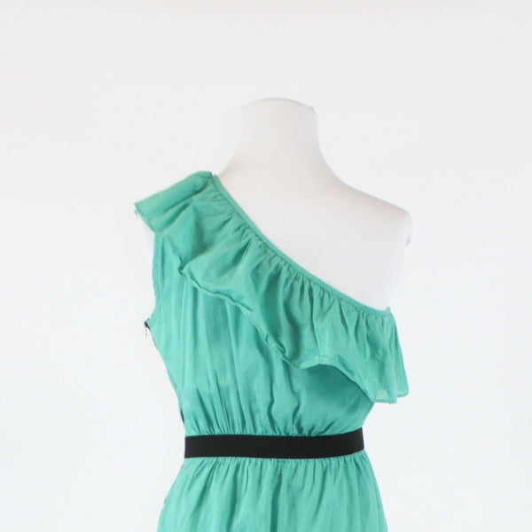 Green 100% cotton GIANNI BINI black trim above knee one shoulder dress M