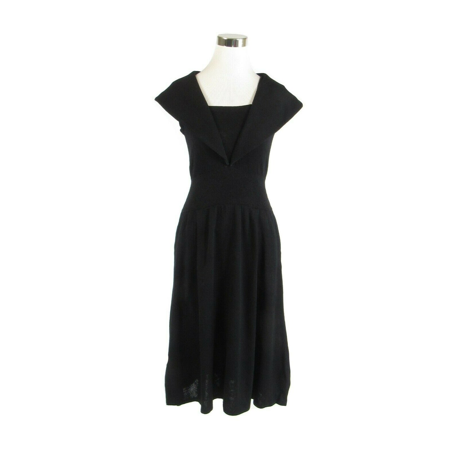 Black knit stretch sailor St. John by Marie Gray vintage dress 8-Newish