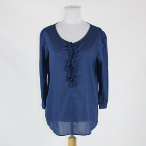 Dark blue striped cotton LANDS' END 3/4 sleeve semi-sheer ruffled front blouse 1