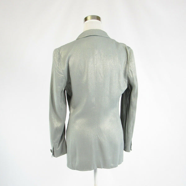 Metallic silver tweed GIORGIO ARMANI double breasted long sleeve jacket 8 42-Newish