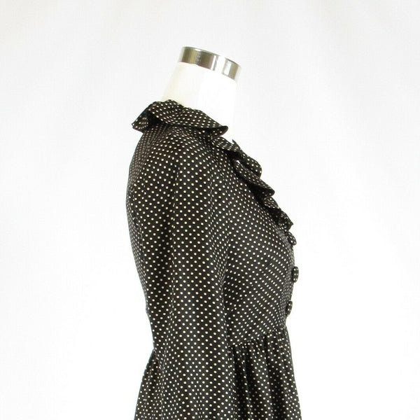 Black white polka dot 100% silk J. CREW 3/4 sleeve A-line dress 0-Newish