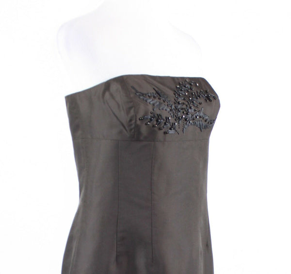Dark brown beaded embroidered 100% silk ANN TAYLOR strapless sheath dress 8