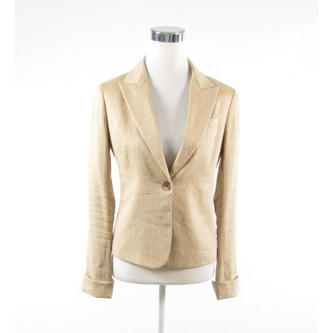 Beige striped linen LAFAYETTE 148 long sleeve jacket 2