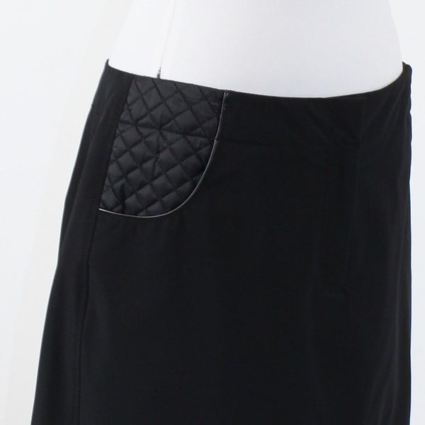 Black MAGASCHONI COLLECTION quilted trim A-line skirt 12