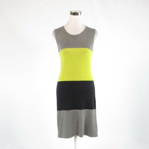Gray green color block CALVIN KLEIN stretch sleeveless sweater dress S-Newish