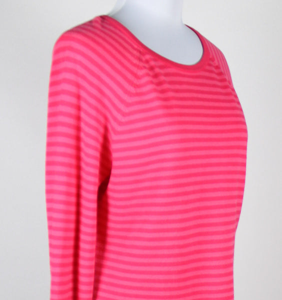 IZOD pink striped cotton blend long sleeve crew neck stretch sweater M-Newish