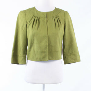 Olive green seersucker silk blend ANTHROPOLOGIE TRINA TURK bolero jacket 2