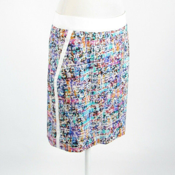 Multicolor white space dyed cotton blend ETCETERA pencil skirt 10-Newish