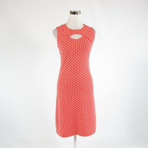 Orange white geometric cotton blend LESLEY EVERS sleeveless sweater dress S-Newish
